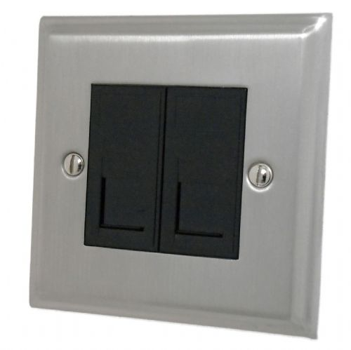 G&H DSN64B Deco Plate Satin Nickel 2 Gang Slave BT Telephone Socket